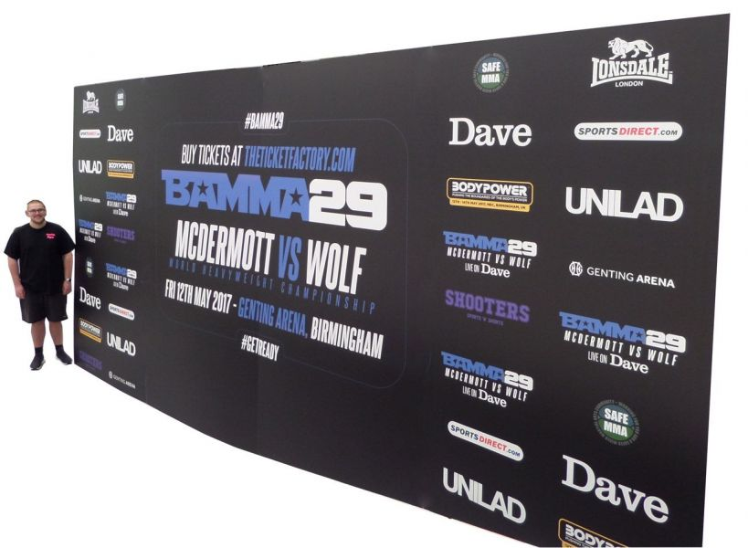 big event media backdrop board with sponsor logo