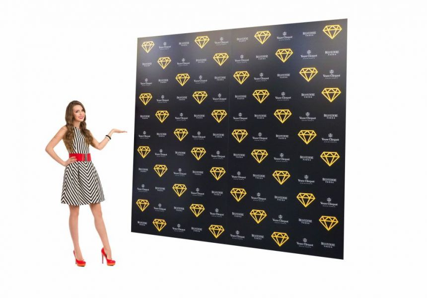 Freestanding press backdrop stands printed with sponsor logo